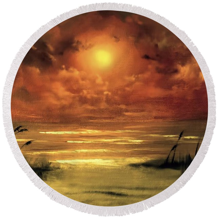 Sunset Round Beach Towel featuring the painting Lovers Sunset by Melissa Herrin