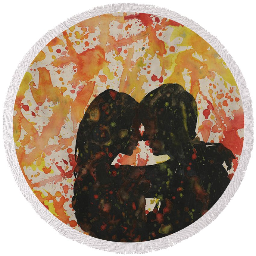 Art Prints Round Beach Towel featuring the painting Loves A Mess by Ryan Fox