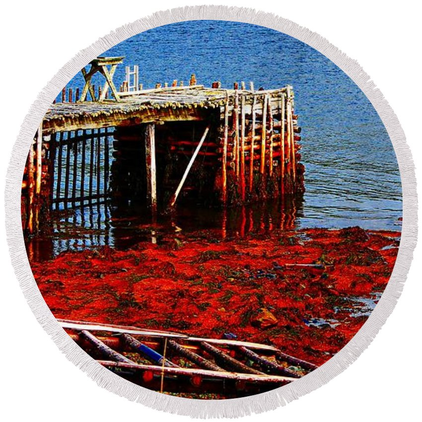 Low Tide Round Beach Towel featuring the photograph Low Tide - Red Seaweed - Fishing - Moratorium by Barbara Griffin
