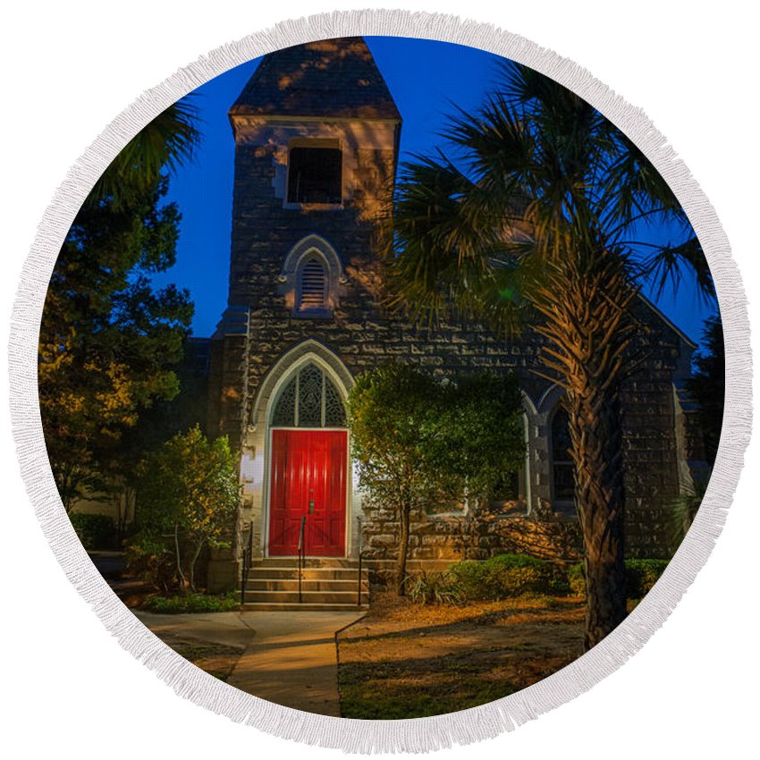 Lowcountry Round Beach Towel featuring the photograph Lowcountry Church by Dale Powell