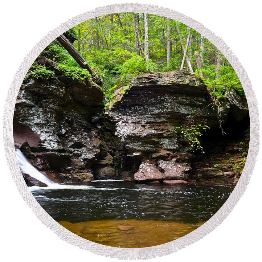 Adams Round Beach Towel featuring the photograph Lower Adams Falls by Frozen in Time Fine Art Photography