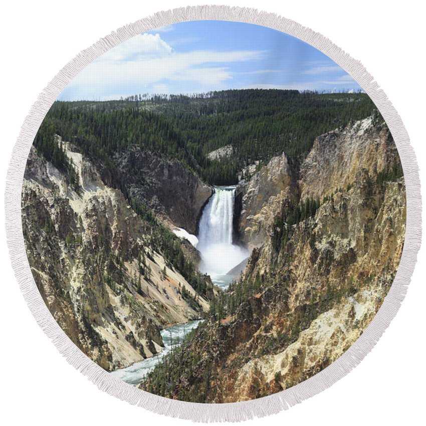 Yellowstone Round Beach Towel featuring the photograph Lower Falls Of The Yellowstone by Margie Wildblood