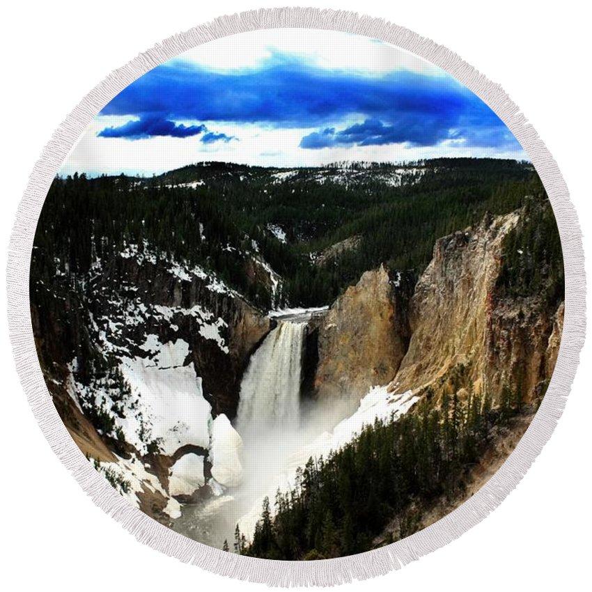 Lower Yellowstone Falls Round Beach Towel featuring the photograph Lower Yellowstone Falls by Amanda Stadther