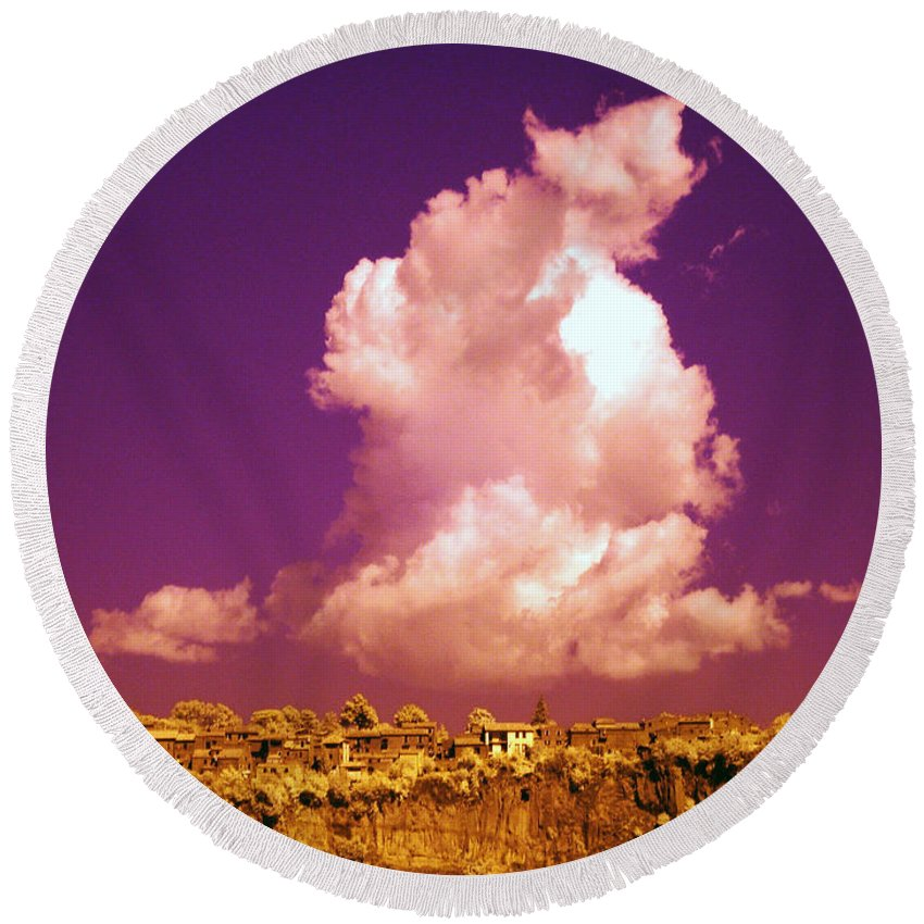 Tufa Wall Round Beach Towel featuring the photograph Lubriano, Italy, Infrared Photo by Tim Holt