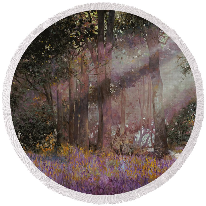 Wood Round Beach Towel featuring the painting Luci by Guido Borelli