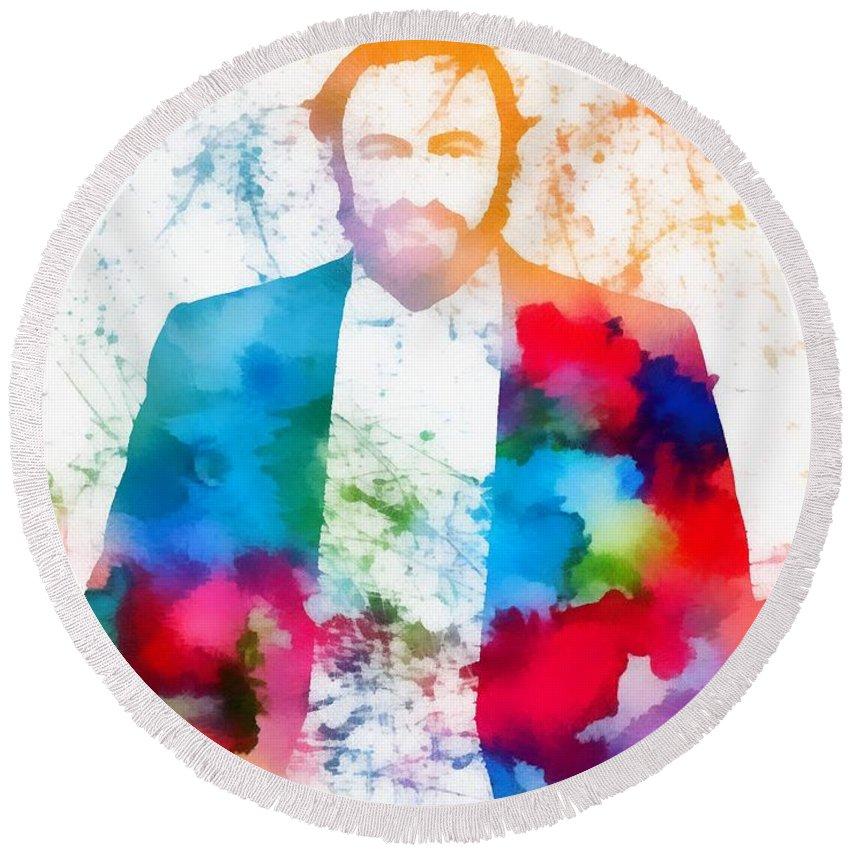 Luciano Pavarotti Paint Splatter Round Beach Towel featuring the painting Luciano Pavarotti Paint Splatter by Dan Sproul