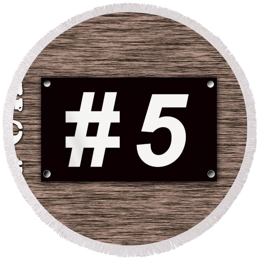 Lucky Number 5 Round Beach Towel