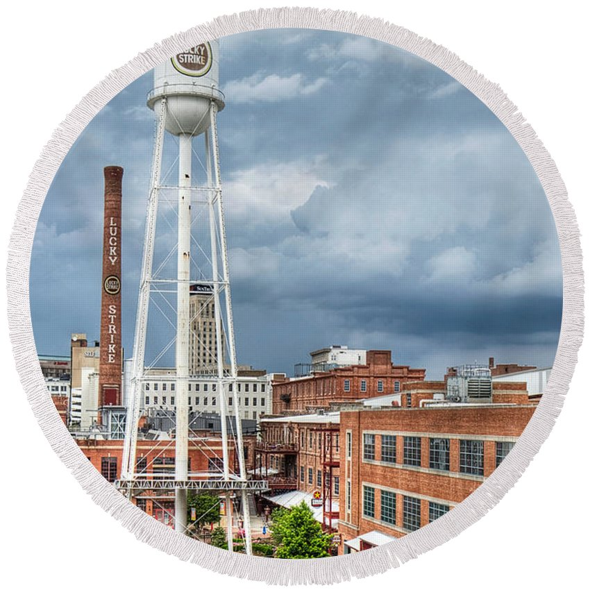 Durham Round Beach Towel featuring the photograph Lucky Strike by Emily Kay