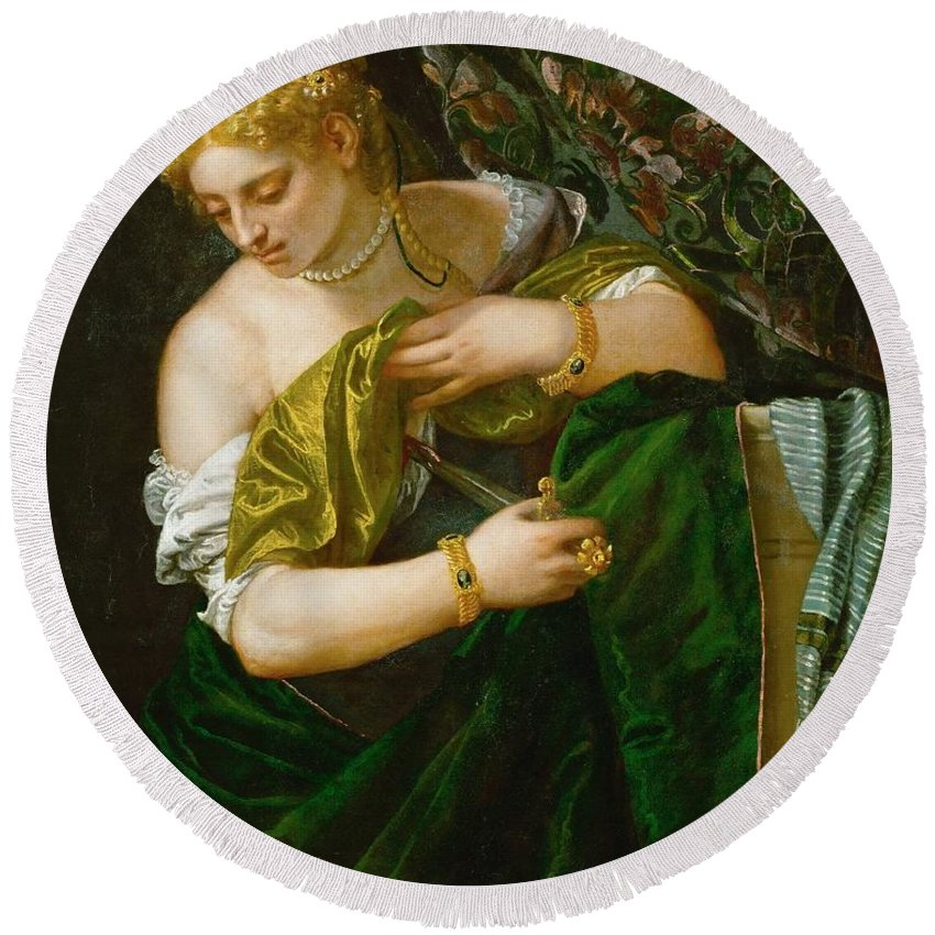 1580-1583 Round Beach Towel featuring the painting Lucretia by Paolo Veronese