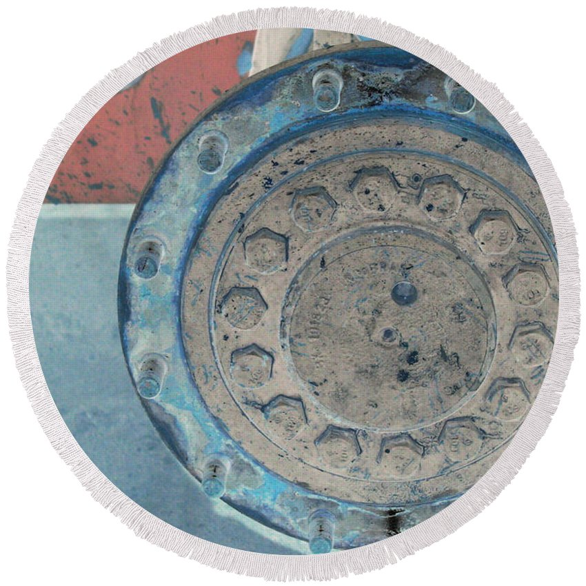 Equipment Round Beach Towel featuring the photograph Lug Nut Wheel Right by Heather Kirk