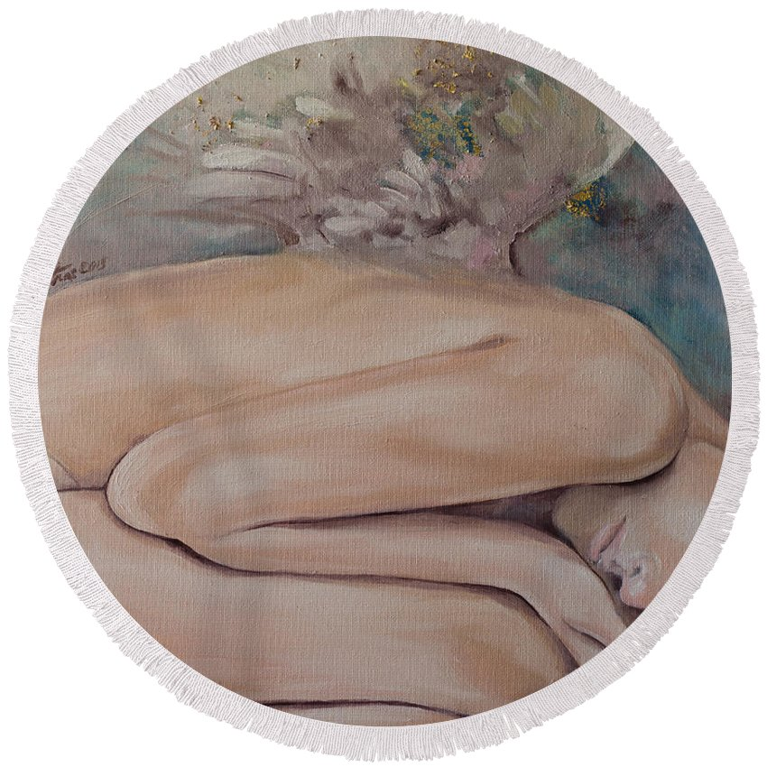 Angels Round Beach Towel featuring the painting Lullaby by Dorina Costras