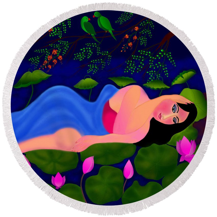 Lullaby Digital Painting Round Beach Towel featuring the digital art Lullaby by Latha Gokuldas Panicker