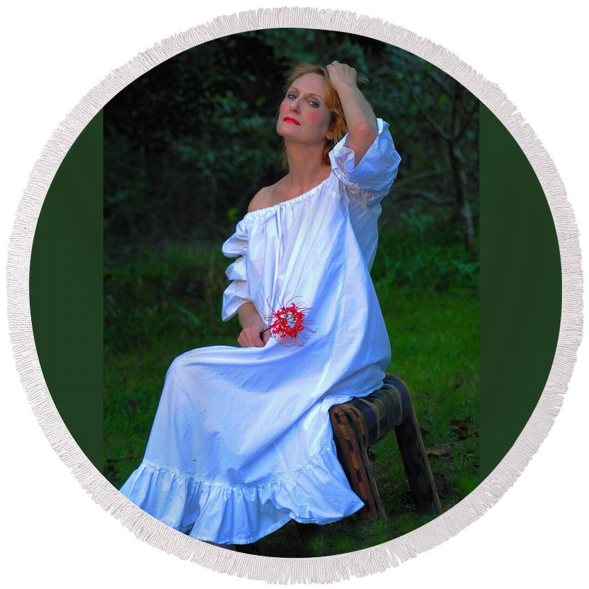 Victorian Gowns And Lingerie Round Beach Towel featuring the photograph Luminous by Pamela Smale Williams