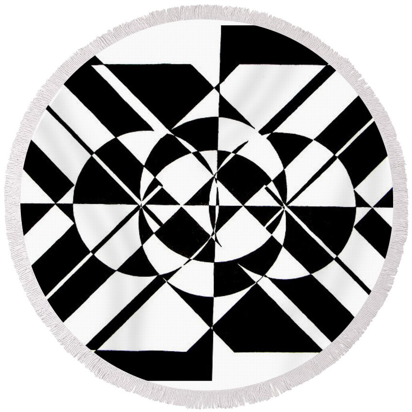 Abstract Round Beach Towel featuring the painting Lunar City by Crystal Hubbard
