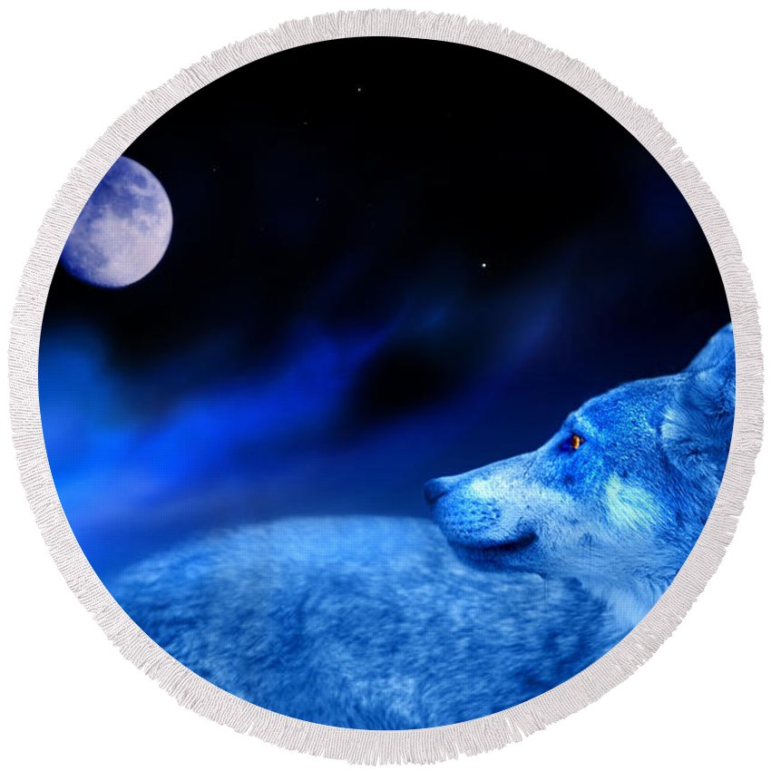 Wolf Round Beach Towel featuring the photograph Lunar Wolf 2 by Mal Bray
