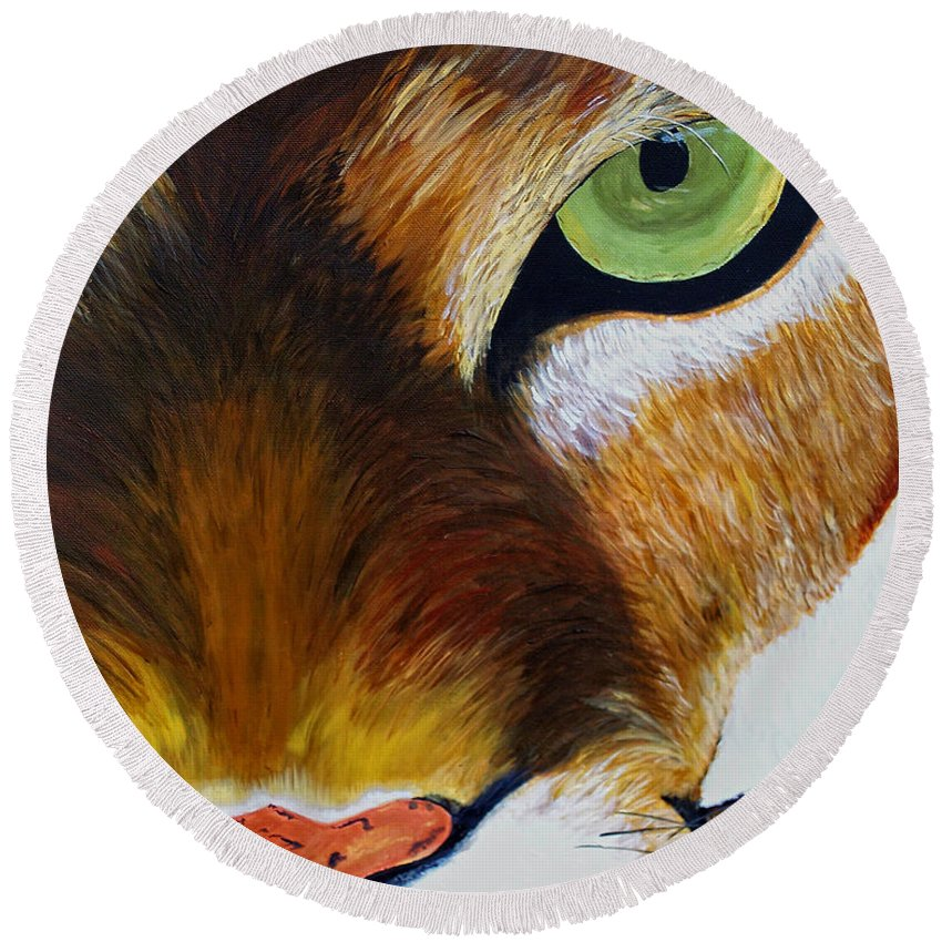 Mountain Lion Round Beach Towel featuring the painting Lunch by Donna Blackhall