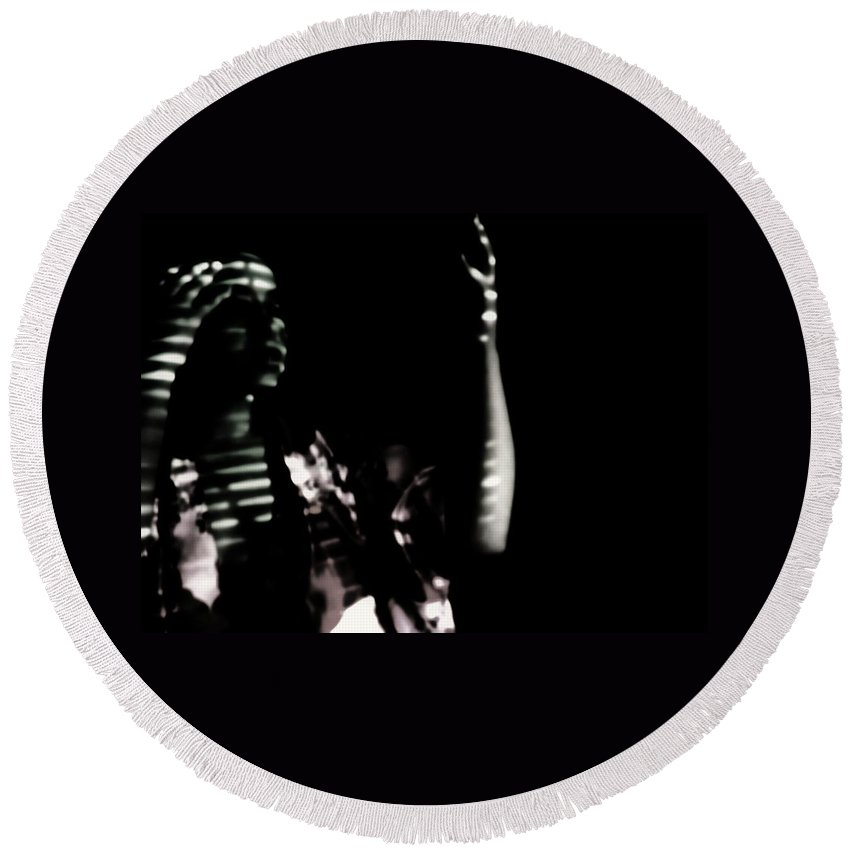Black And White Shadows Emotive Dark Pain Women Round Beach Towel featuring the photograph Lurid by Jessica Shelton