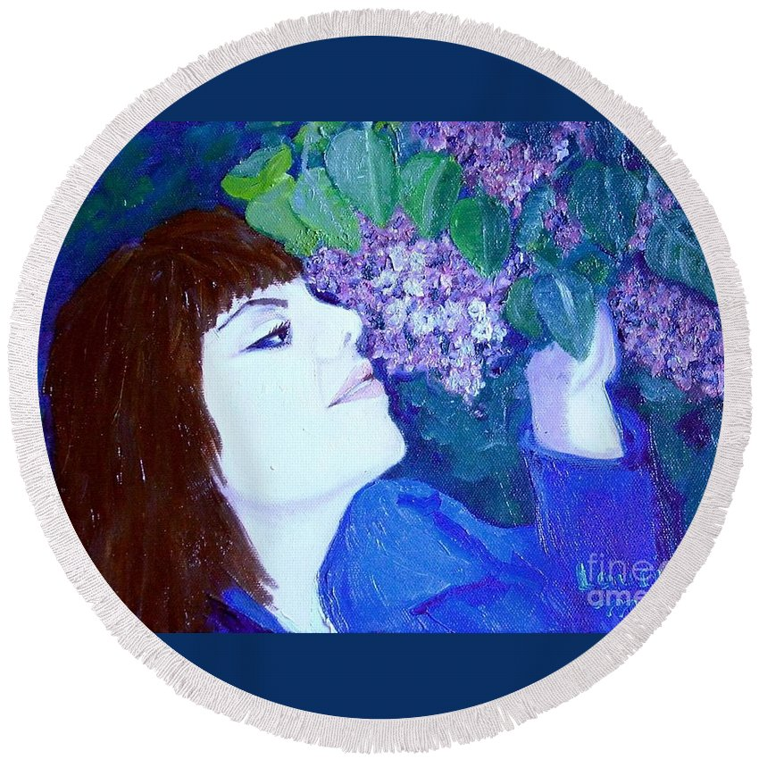 Lilacs Round Beach Towel featuring the painting Lush Lilacs by Laurie Morgan
