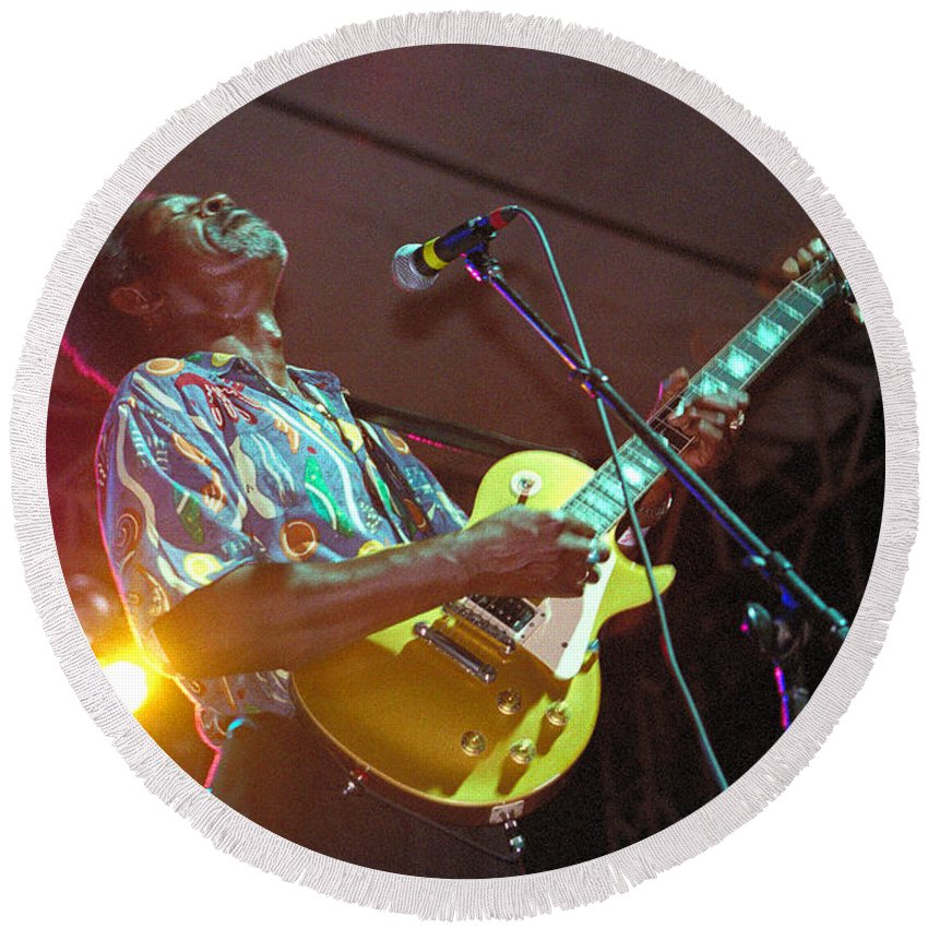 Luther Allison Round Beach Towel featuring the photograph Luther Allison-1 by Gary Gingrich Galleries