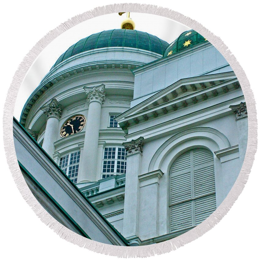 Lutheran Cathedral Of Helsinki Round Beach Towel featuring the photograph Lutheran Cathedral Of Helsinki-finland by Ruth Hager
