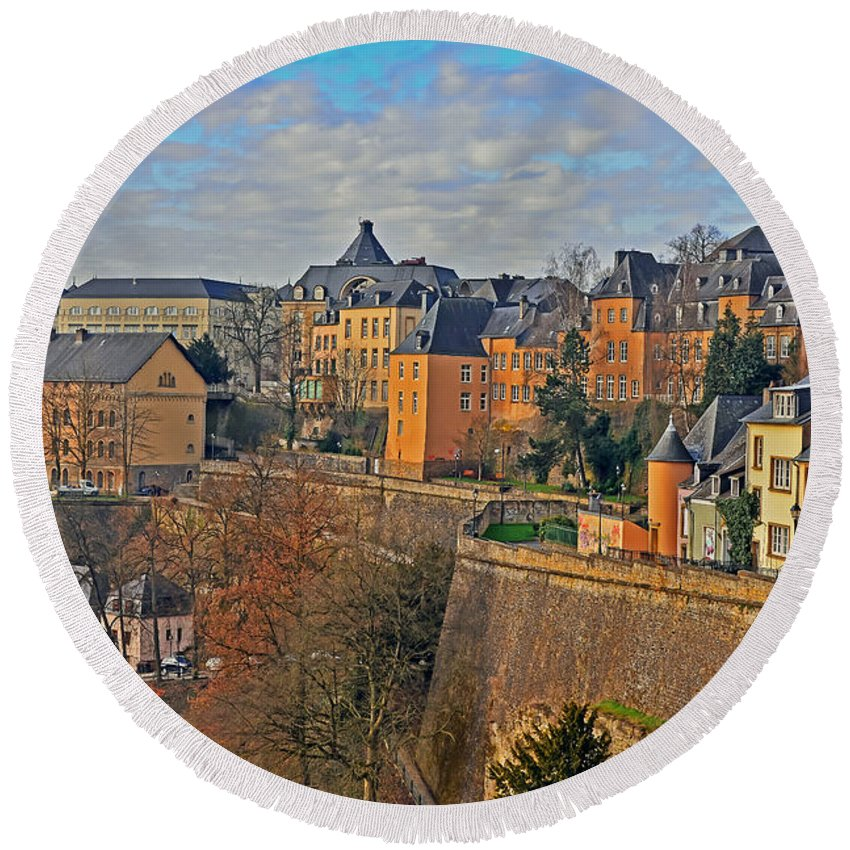 Travel Round Beach Towel featuring the photograph Luxembourg Fortification by Elvis Vaughn