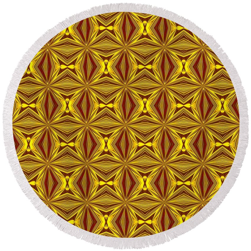 Christmas Round Beach Towel featuring the digital art Luxury Red And Gold Christmas Kaleidoscope by Taiche Acrylic Art