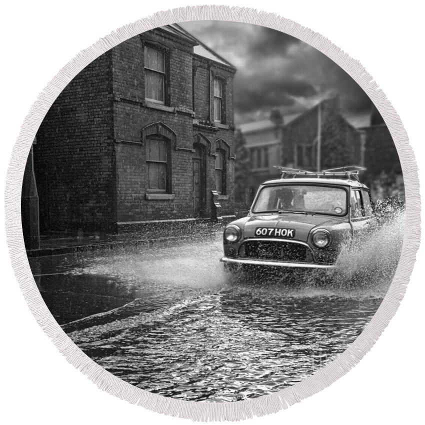 Hart Photography Round Beach Towel featuring the photograph Lye Rain Storm, Morris Mini Car - 1960's  Ref-246 by William R Hart