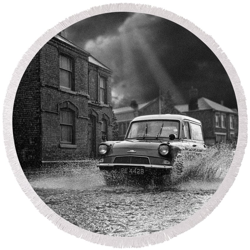 Hart Photography Round Beach Towel featuring the photograph Lye Storm, Ford Anglia Van - 1960's  Ref-245 by William R Hart