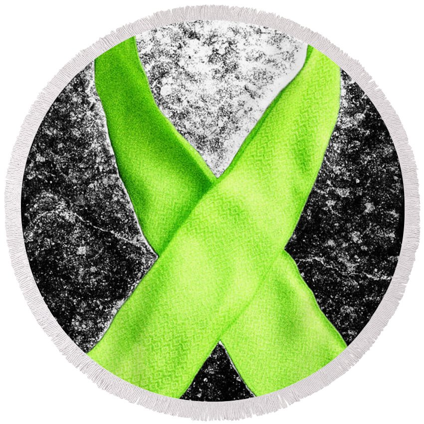 Lyme Round Beach Towel featuring the photograph Lyme Disease Awareness Ribbon by Luke Moore
