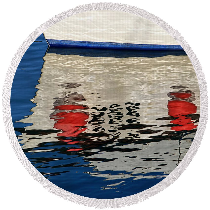 Tags Round Beach Towel featuring the photograph Lyme Regis Harbour - December by Susie Peek