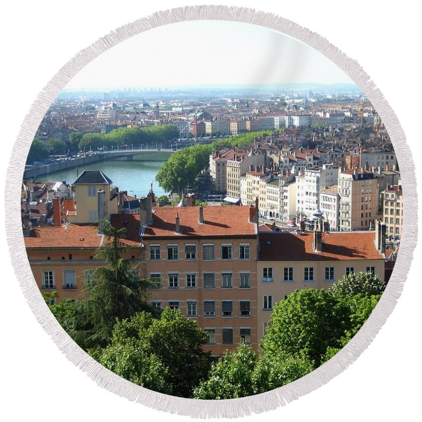 Lyon Round Beach Towel featuring the photograph Lyon From Above by Dany Lison