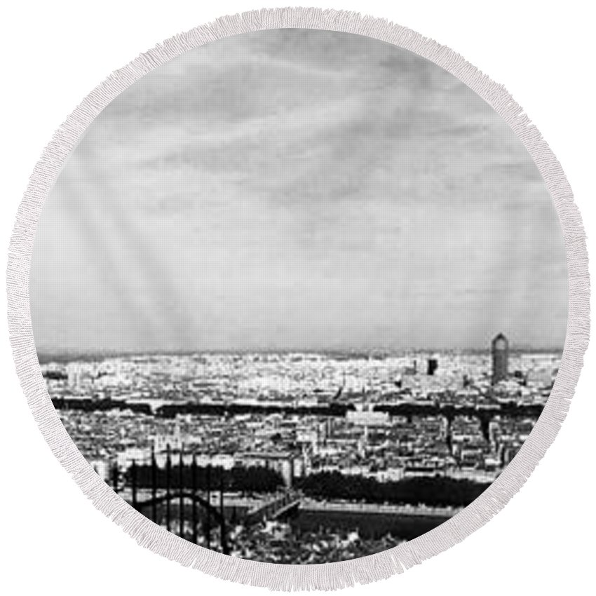 Wright Round Beach Towel featuring the photograph Lyon From The Basilique De Fourviere-bw by Paulette B Wright