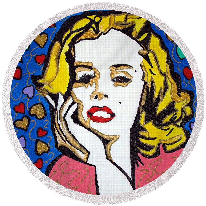 Pop-art Round Beach Towel featuring the painting M M by Silvana Abel