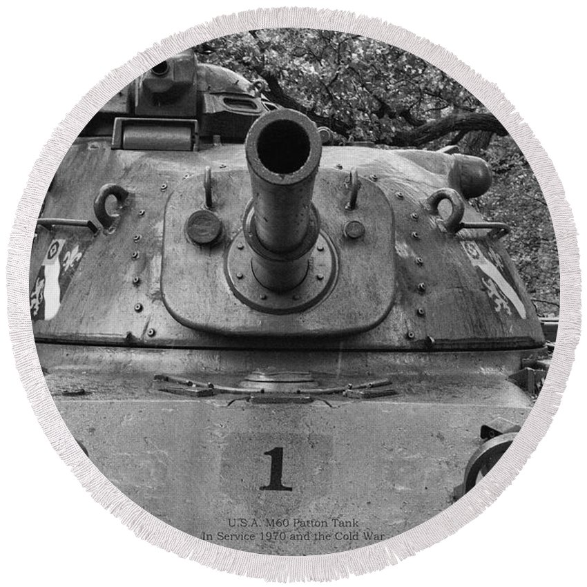 M60 Patton Tank Turret Round Beach Towel