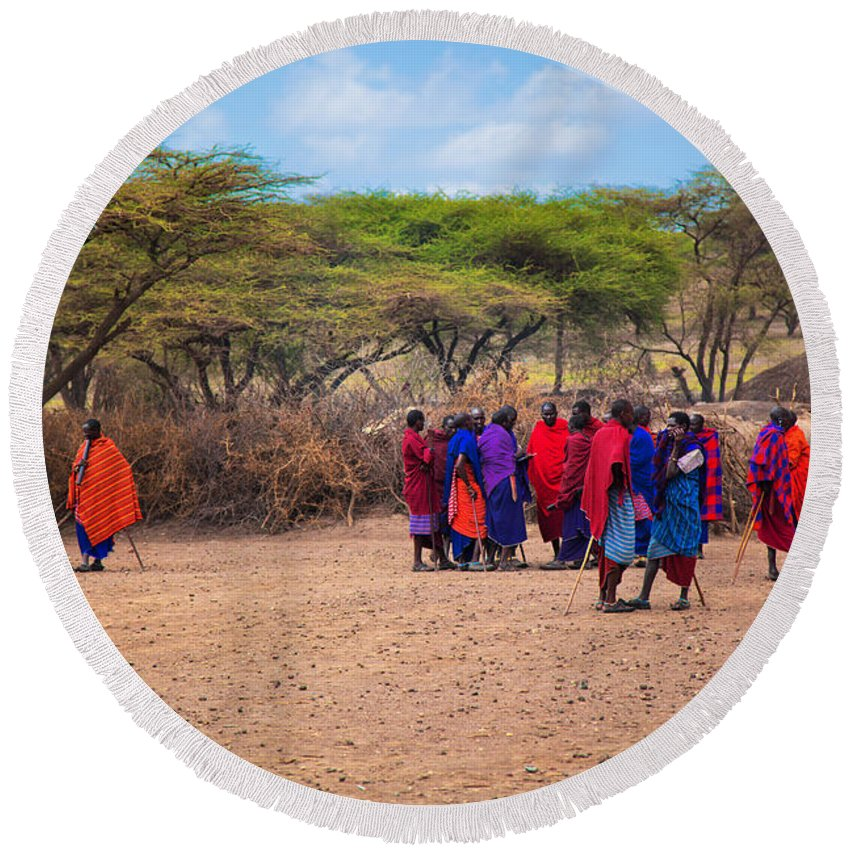 Maasai Round Beach Towel featuring the photograph Maasai People And Their Village In Tanzania by Michal Bednarek