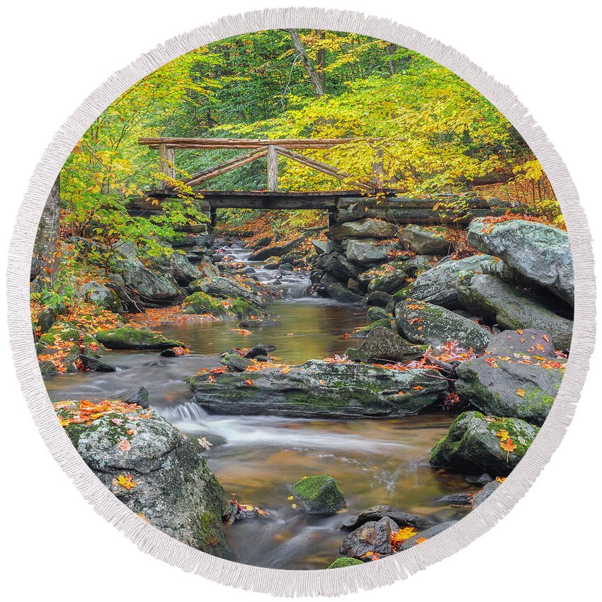 Square Round Beach Towel featuring the photograph Macedonia Brook Square by Bill Wakeley