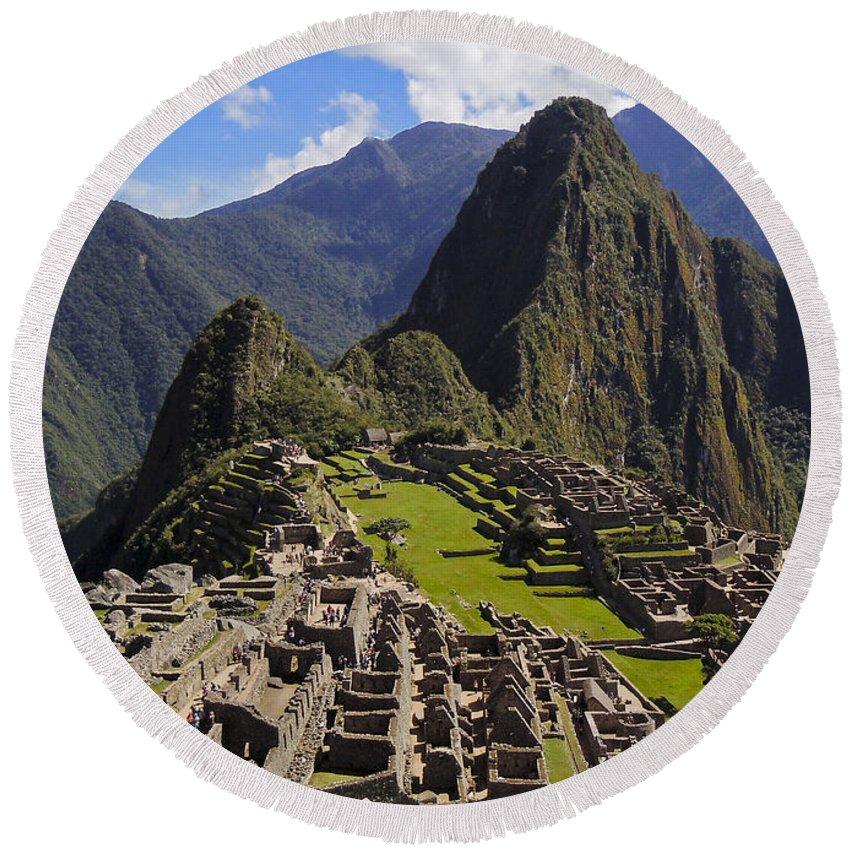 Machu Picchu Round Beach Towel featuring the photograph Machu Picchu by Doug Matthews