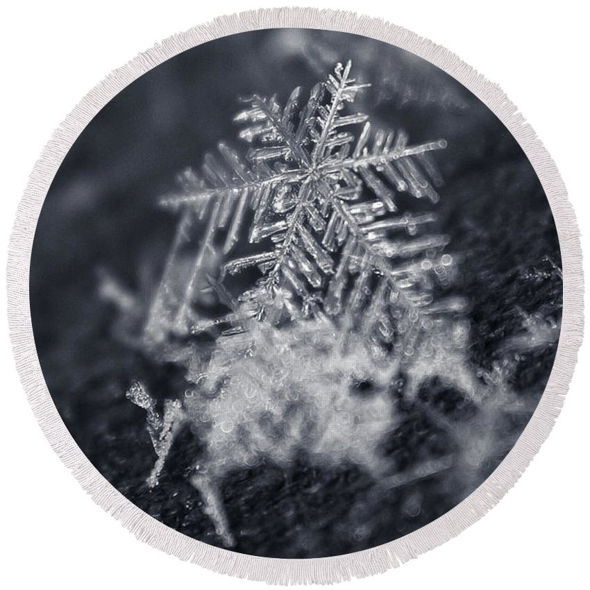Macro Round Beach Towel featuring the photograph Macro Snowflake by Amber Flowers