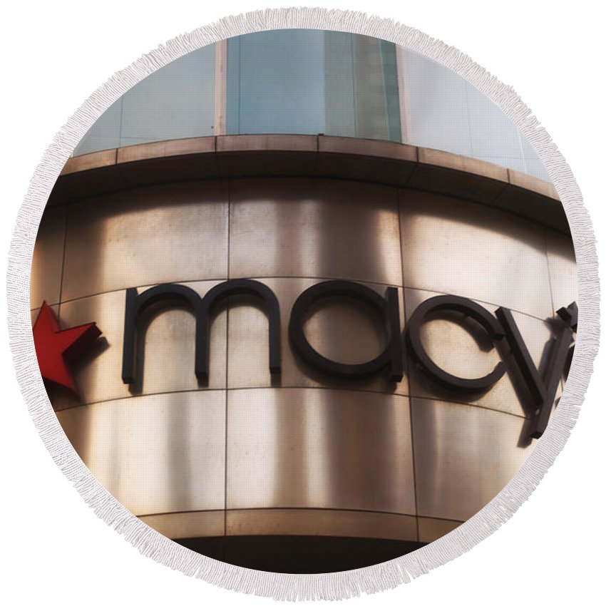 Chicago Round Beach Towel featuring the photograph Macys Signage by Thomas Woolworth
