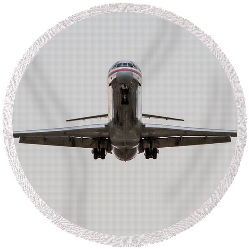 Md-80 Round Beach Towel featuring the photograph Mad Dog by John Daly