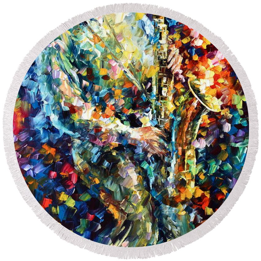 Afremov Round Beach Towel featuring the painting Mad Jazz by Leonid Afremov