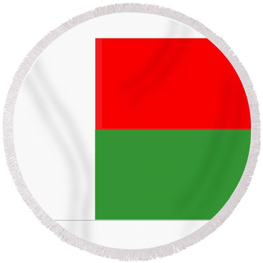 Madagascar. Flag Round Beach Towel featuring the digital art Madagascar Flag by Frederick Holiday