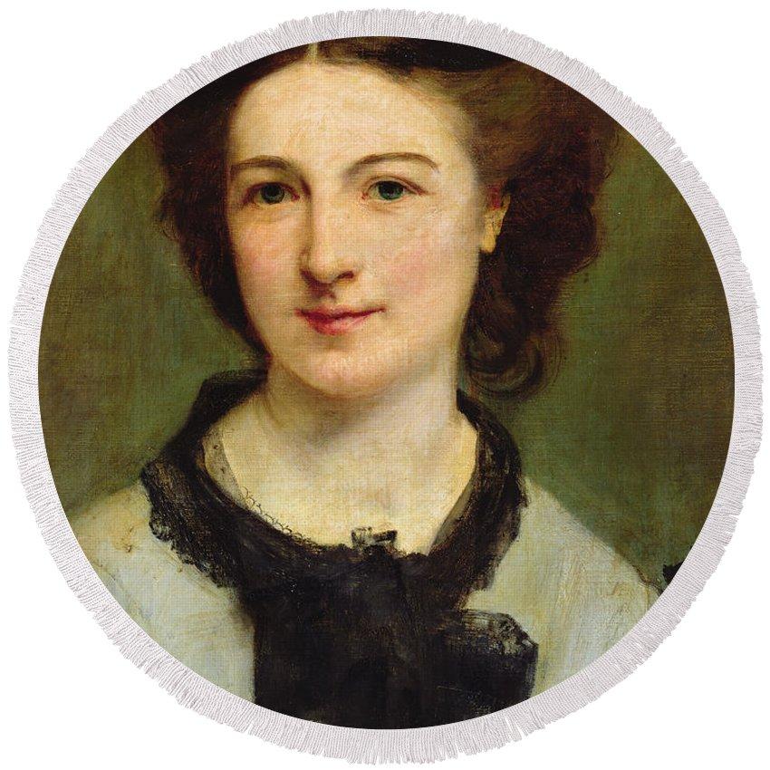 Madame Charles Garnier Round Beach Towel featuring the painting Madame Charles Garnier by Paul Baudry