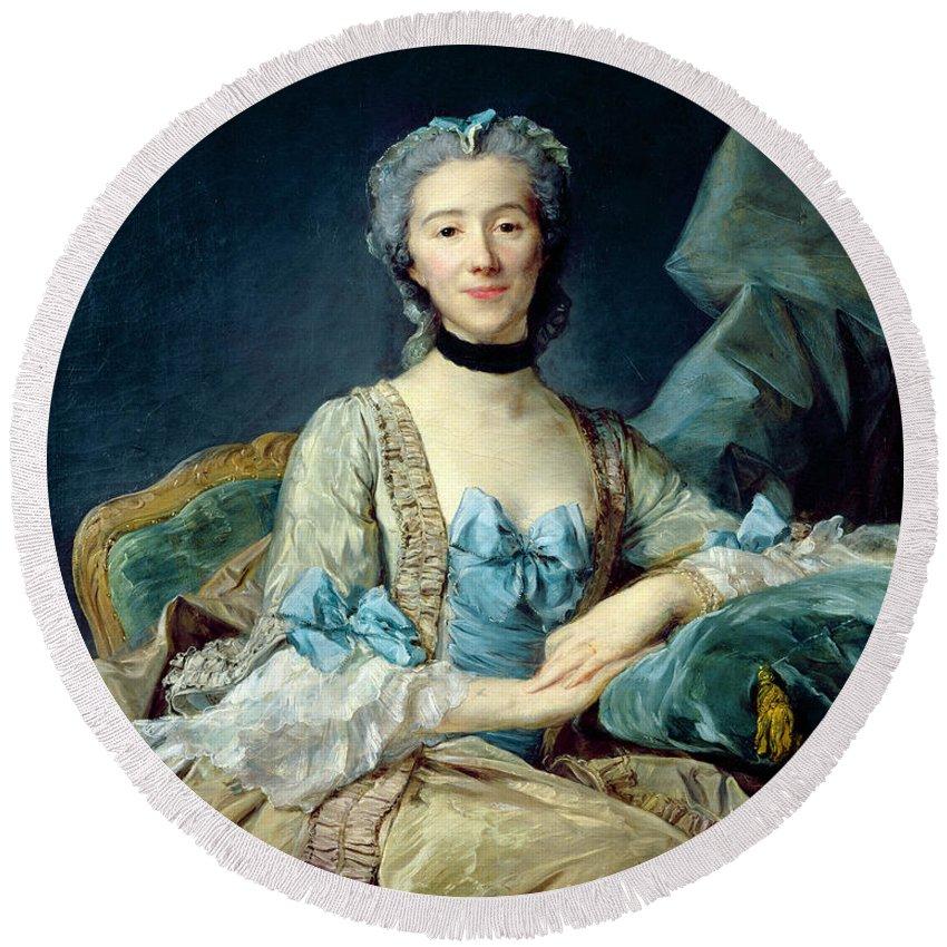 Female Round Beach Towel featuring the photograph Madame De Sorquainville, 1749 Oil On Canvas by Jean-Baptiste Perronneau