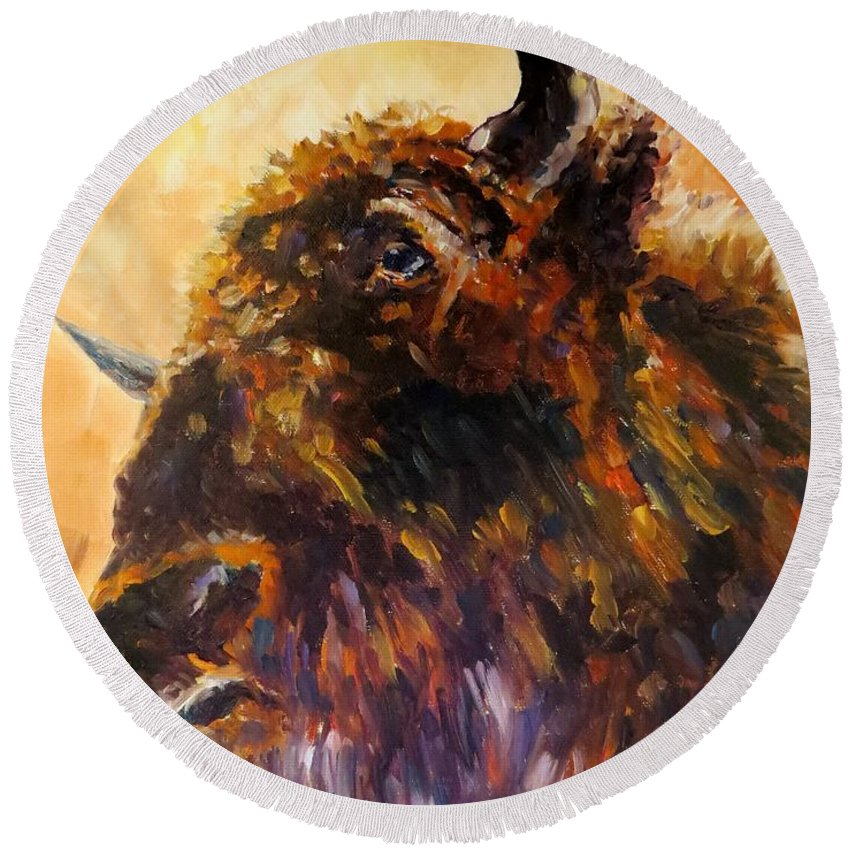 Buffalo Round Beach Towel featuring the painting Made In America, Buffalo by Sandra Reeves