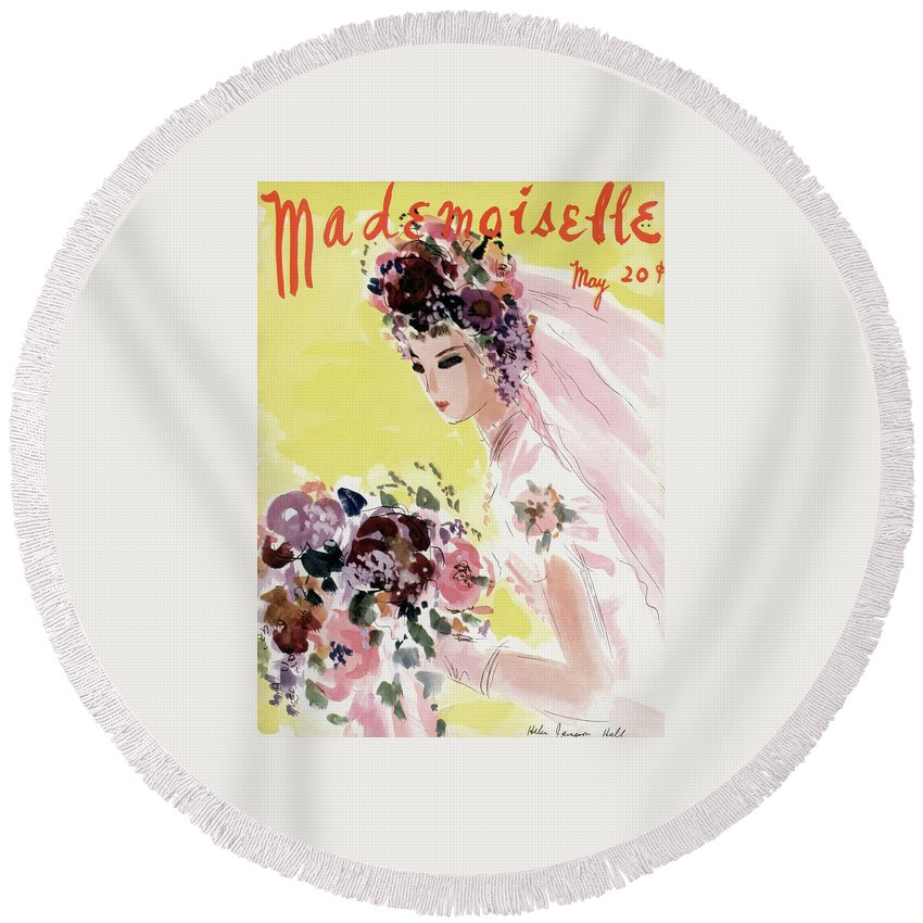 Illustration Round Beach Towel featuring the photograph Mademoiselle Cover Featuring A Bride by Helen Jameson Hall