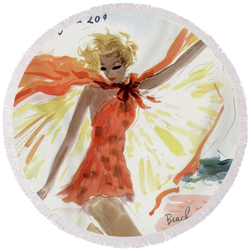 Illustration Round Beach Towel featuring the photograph Mademoiselle Cover Featuring A Model At The Beach by Helen Jameson Hall