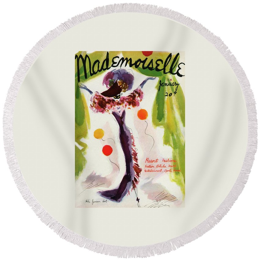 Illustration Round Beach Towel featuring the photograph Mademoiselle Cover Featuring A Model Wearing by Helen Jameson Hall