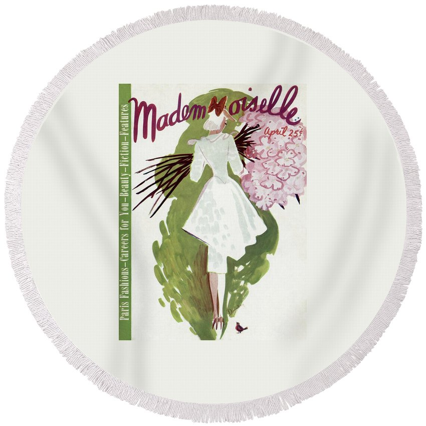 Fashion Round Beach Towel featuring the photograph Mademoiselle Cover Featuring A Woman Carrying by Elizabeth Dauber
