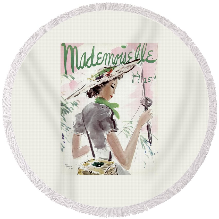 Illustration Round Beach Towel featuring the photograph Mademoiselle Cover Featuring A Woman Holding by Helen Jameson Hall